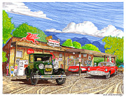 Route 66 Paintings - Hackberry Store Routt 66 Icon by Jack Pumphrey