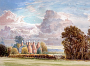 Field. Cloud Digital Art Prints - Hadlow stand of Oasts Print by Steve Crisp