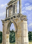 Greece Painting Originals - Hadrians Arch by Marsha Elliott