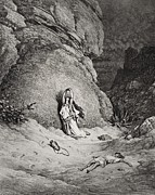 Praying Drawings Framed Prints - Hagar and Ishmael in the Desert Framed Print by Gustave Dore