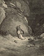Punishment Drawings Prints - Hagar in the Wilderness Print by Antique Engravings