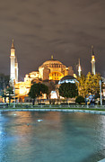 Medieval Temple Art - Hagia Sofia at night 01 by Antony McAulay