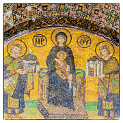 Greek Icon Photo Posters - Hagia Sofia mosaic 03 Poster by Antony McAulay