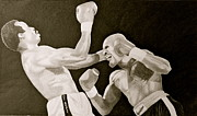 Boxing Drawings - Hagler and Mugabi by Mark Beach