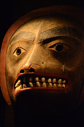 Ancient Indian Art Metal Prints - Haida Carved Wooden Mask 1 Metal Print by Bob Christopher