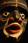 Haida Masks Prints - Haida Carved Wooden Mask 5 Print by Bob Christopher
