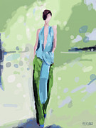 Runway Fashion Art Posters - Haider Ackermann Fashion Illustration Art Print Poster by Beverly Brown Prints