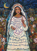 Religious Art Painting Posters - Hail Mary Poster by Jen Norton