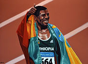 Work Of Art Painting Prints - Haile Gebrselassie Print by Paul  Meijering