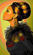 Fashion Face Digital Art Posters - Hair Bun Poster by Byron Fli Walker