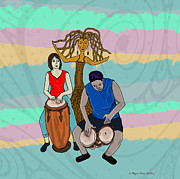 Music Inspired Art Digital Art Prints - Haitian Drum Spirit Print by Megan Dirsa-DuBois
