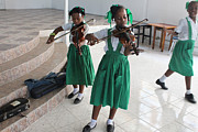 Haitian Girls Play Violins Print by Jim Wright