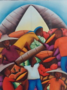 Haitian Paintings - Haitian people and fruits. by Haitian artist