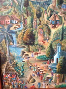 Haitian Paintings - Haitian village by Dimanche from Haiti