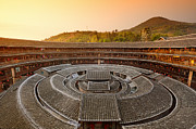 Sunlight. Circle Framed Prints - Hakka Tulou China Framed Print by Fototrav Print