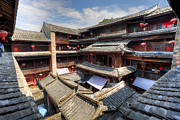 Travel China Posters - Hakka Tulou Chinese housing in Fujian China Poster by Fototrav Print