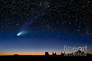 Hale-bopp Comet Prints - Hale Bopp and observatories Hawaii Print by David Nunuk