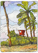 North Shore Mixed Media Prints - Haleiwa Lifeguard Tower 1 Print by Stacy Vosberg
