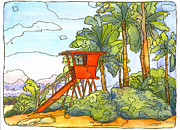 North Shore Mixed Media Prints - Haleiwa Lifeguard Tower 2 Print by Stacy Vosberg