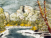 California Watercolor Artists Tapestries - Textiles Framed Prints - Half Dome Framed Print by Alexandra  Sanders