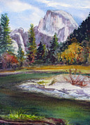 Half Dome Paintings - Half Dome from Merced River by Barbara Gill-Salerno