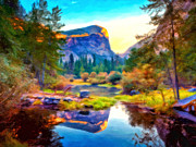 Yosemite Painting Prints - Half Dome Reflection Print by Michael Pickett