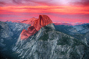 Half Dome Painting Prints - Half Dome Sunset from Glacier Point Print by John Haldane