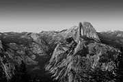 National Parks Art - Half Dome Twilight - Black and White by Peter Tellone