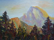 Mountain Climbing Paintings - Half Dome View by Carolyn Jarvis