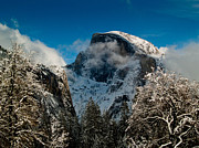 Bill Gallagher Photography Posters - Half Dome Winter Poster by Bill Gallagher