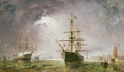 Frigates Framed Prints - Half Mast High 19th century Framed Print by  Robert  Dudley