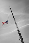 Flag Of Usa Photo Prints - Half-Mast Print by Luke Moore