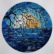 Vinyl Paintings - Half Moon Night by Amalia Suruceanu Art