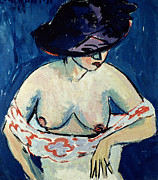 Abstract Expressionistic Painting Framed Prints - Half Naked Woman with a Hat Framed Print by Ernst Ludwig Kirchner