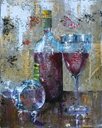 Red Wine Bottle Painting Posters - Half Savored II Poster by John Henne