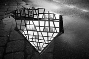 Cobbles Art - Half-timbered house water reflection black and white by Matthias Hauser