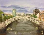 Halfpenny Prints - Halfpenny Bridge Print by Les Duffy