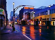Halifax Photography Prints - Halifax Barrington Street Early Morning Rain Print by  Halifax Artist John Malone