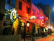 Halifax Art Work Metal Prints - Halifax Bars by Night Metal Print by  Halifax Artist John Malone