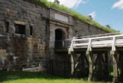 Blue Brick Digital Art Prints - Halifax Citadel Print by Jeff Kolker