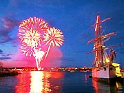 Halifax Art Galleries Prints - Halifax Harbour Fireworks at Night  Print by  Halifax Artist John Malone