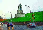 Halifax Art Framed Prints - Halifax Historic Town Clock Framed Print by John Malone Halifax photographer