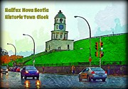 Halifax Art Framed Prints - Halifax Historic Town Clock Poster Framed Print by Halifax photographer John Malone