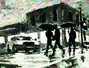 Pointillist Digital Art Metal Prints - Halifax in the Rain One Metal Print by John Malone