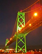 Halifax Art Framed Prints - Halifax MacDonald Bridge at Night Framed Print by John Malone