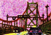 Halifax Digital Art Posters - Halifax MacDonald Bridge Pointillist Poster by John Malone
