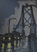 Suspension Paintings - Halifax MacDonald Bridge Rainy Evening by John Malone