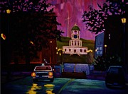John Malone Artist Prints - Halifax Night Patrol and Town Clock Print by John Malone