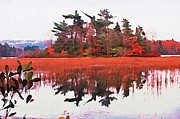 Reflections In Water Prints - Halifax Nova Scotia Lake Banook Painting Print by  Halifax Artist John Malone