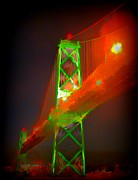 Halifax Digital Art Posters - Halifax Nova Scotia MacDonald Bridge Poster by  Halifax Artist John Malone